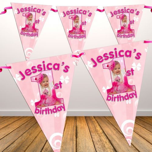 Personalised Girls Pink First 1st Birthday Flag PHOTO Bunting Banner - N19